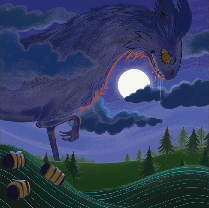 A massive beast rises above the clouds on a full moon, spittle dripping from its maw. The yellow eyes match the giant honeybees sleeping on a hillside nearby.