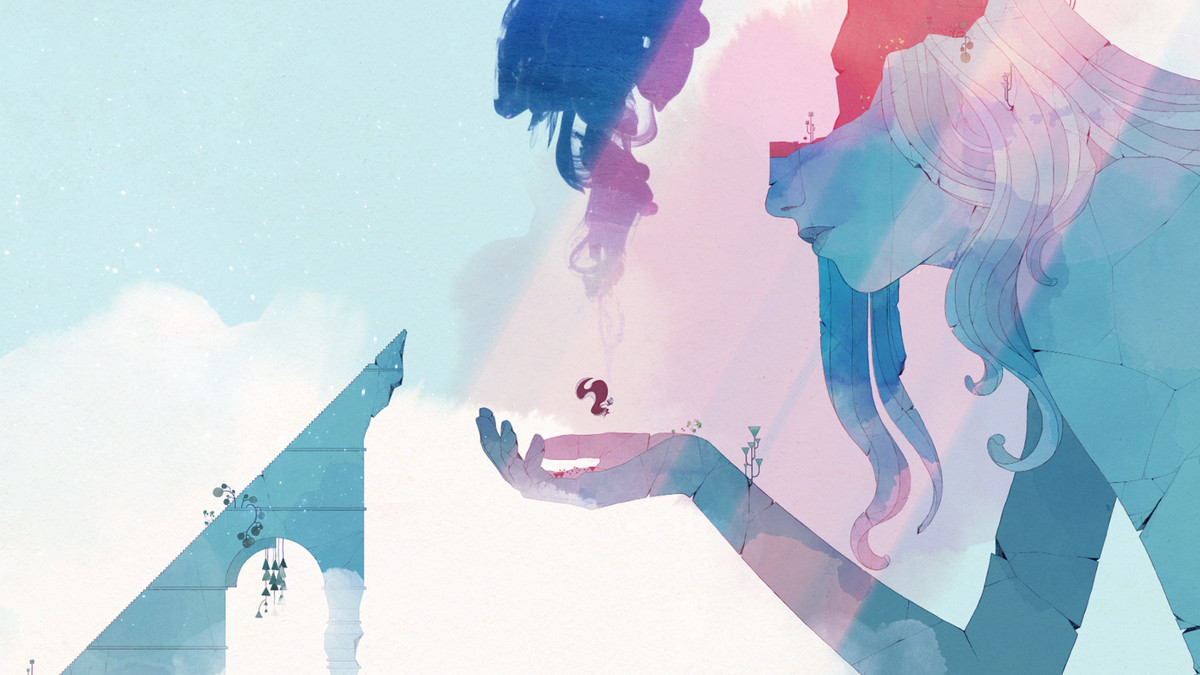 A screenshot from Gris of a giant woman holding Gris