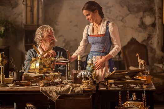 Belle (Emma Watson) and her father (Kevin Kline) in Beauty and the Beast.