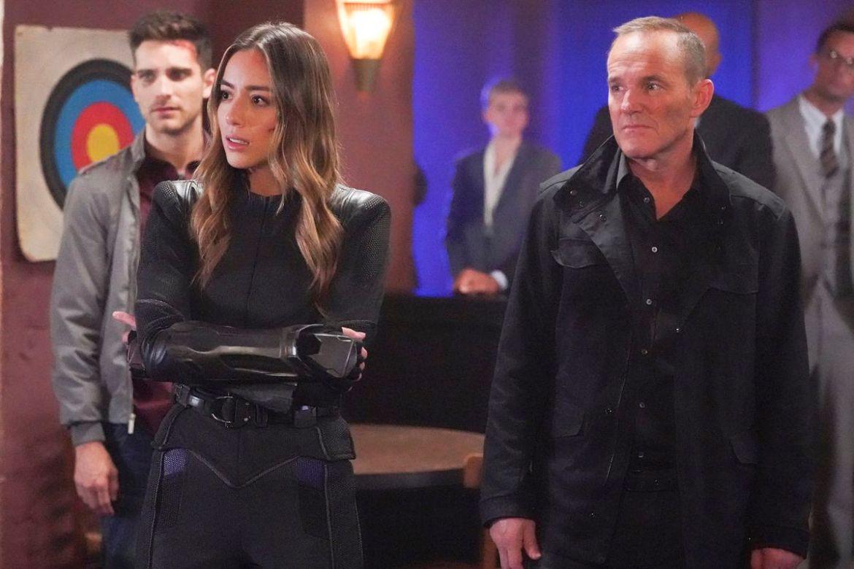 chloe benett and clark gregg in the agents of shield finale