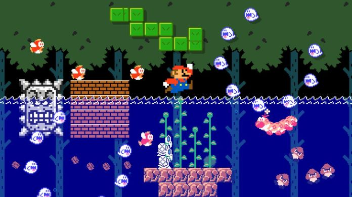 Mario jumping over water in Super Mario Maker 2