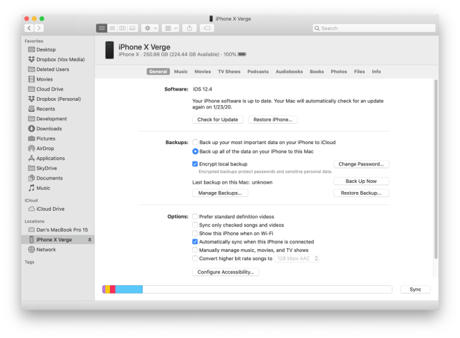 Using Finder to change your backup from iCloud to local.