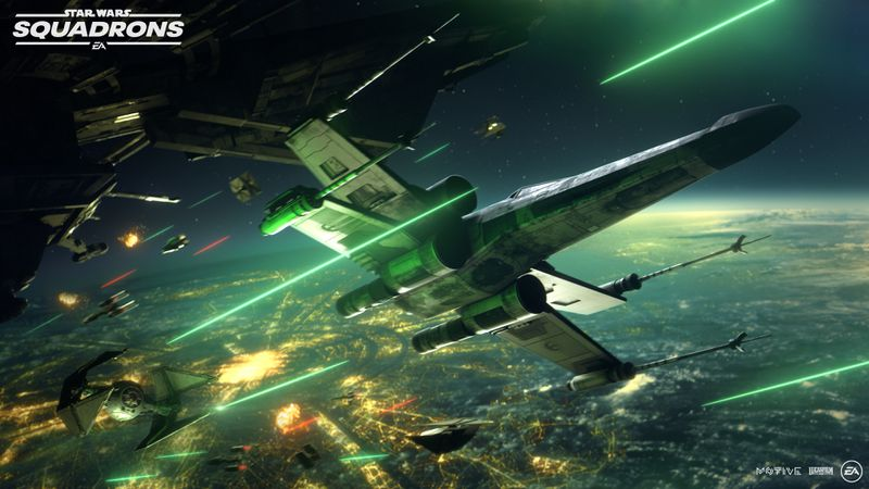 A TIE Interceptor chasing after an X-Wing in Star Wars: Squadrons