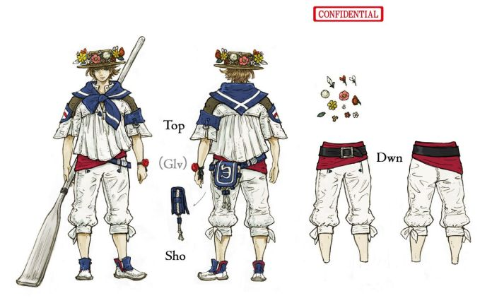 Concept art for the Sailor outfit set, featuring a floral crown around a straw hat
