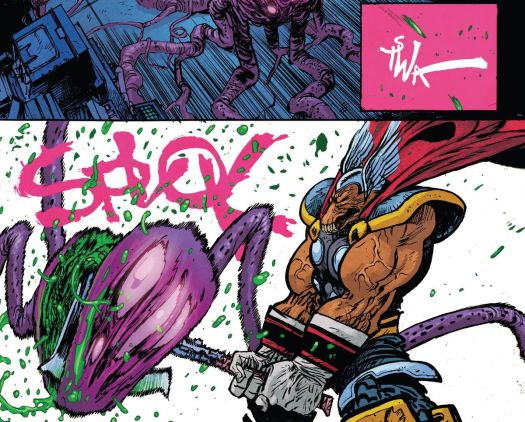 TSWA is the sound effect as Beta Ray Bill raises his axe. SPLOK is the sound as he bisects a giant alien something with all his might in Beta Ray Bill #4 (2021).