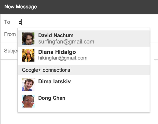 Email via Google+ in Gmail