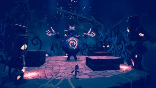 A character faces the Cheshire Cat in a mech suit in a screenshot from Balan Wonderworld