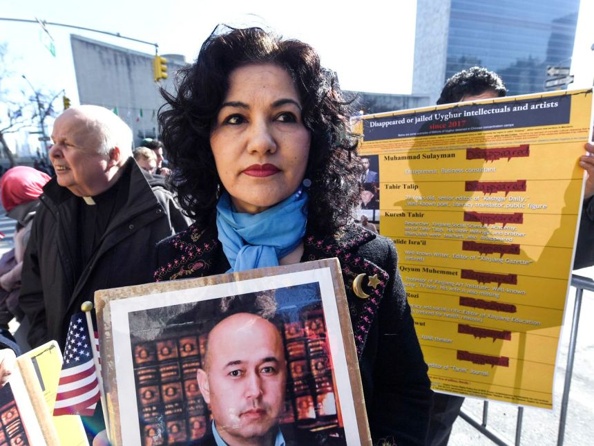 Protesters at a rally on February 5 in front of the US Mission to the United Nations to encourage the State Department to condemn China's internment of Uighur Muslims.