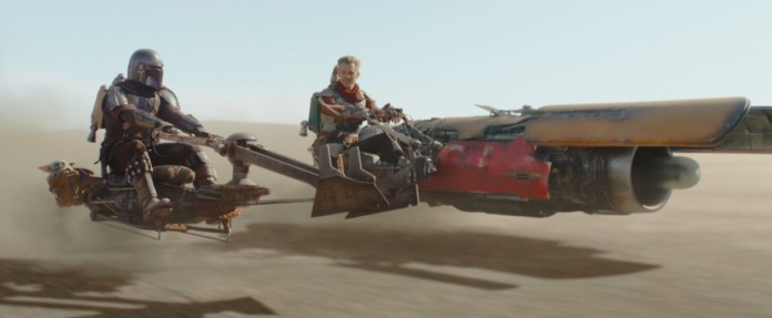 Mandalorian and cobb ride speeder bikes, one made our Anakin podracer in The Mandalorian season 2