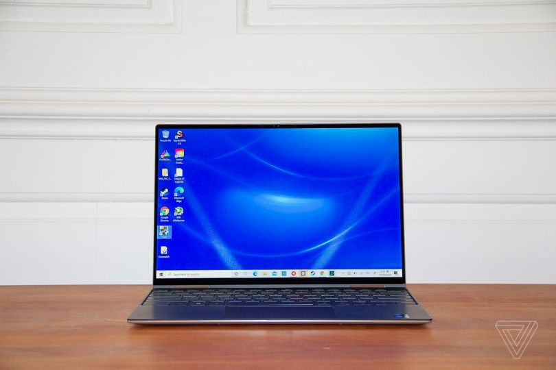 The Dell XPS 13 2-in-1 open, facing forward.