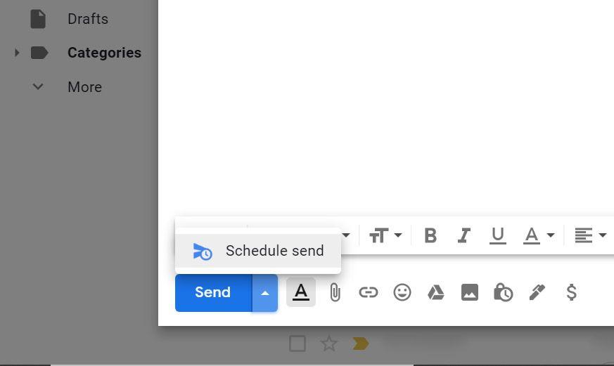 Schedule send button