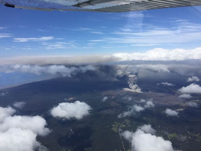A Civil Air Patrol flight showing the ash plume from Kilauea volcano reaching as high as 11,000 feet on May 15, 2018.