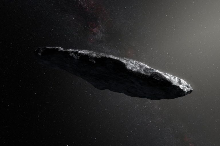 An artist's rendering of 'Oumuamua
