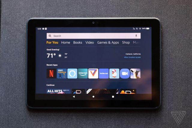 Der Startbildschirm von Fire HD enthält Registerkarten für alle Dienste von Amazon