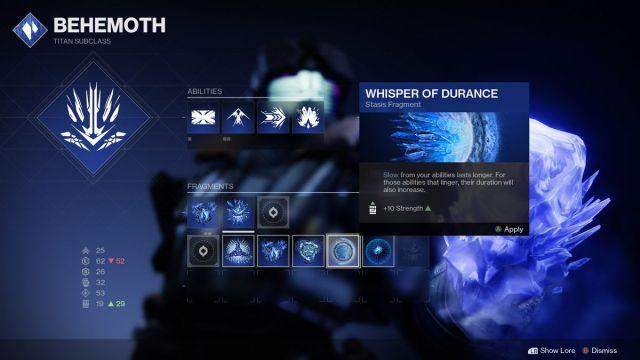 Titan Stasis Whisper of Durance fragment