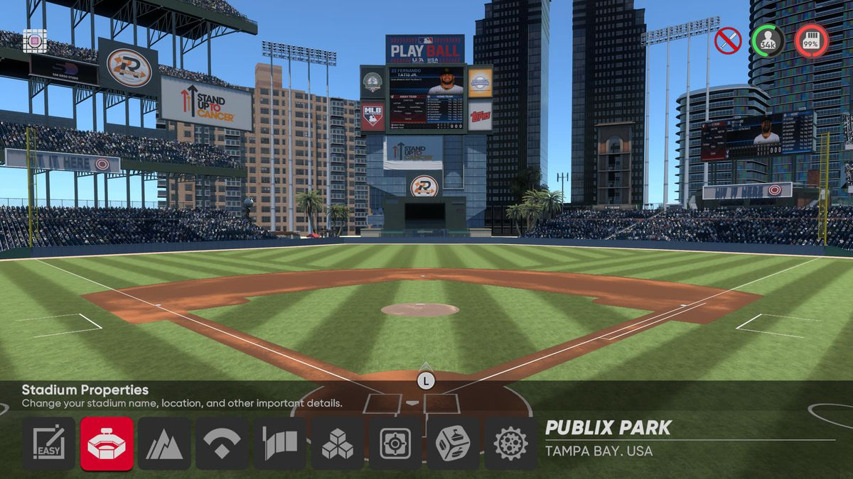 interior shot of a fantasy stadium in MLB The Show 21's Stadium Creator.