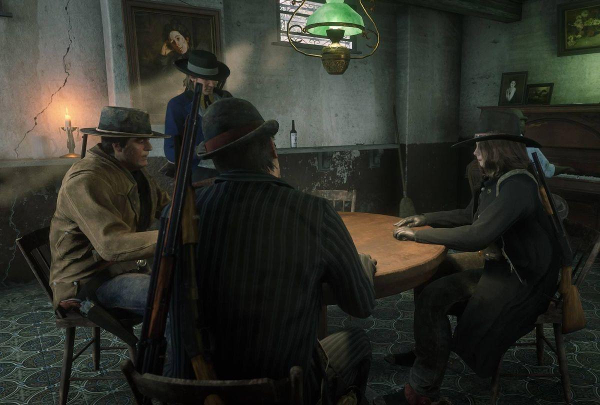 Red Dead Online - jugadores reunidos en un bar