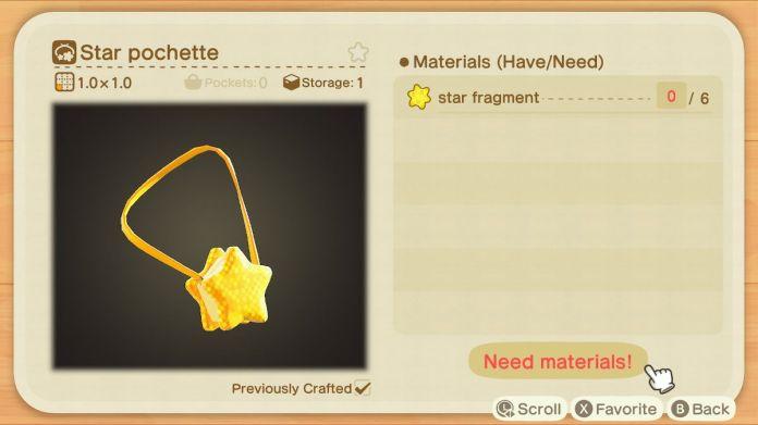 A recipe list for a Star Pochette
