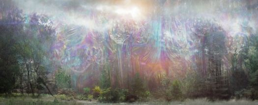 the prismatic rainbow shimmer drips down into the grass in annihilation