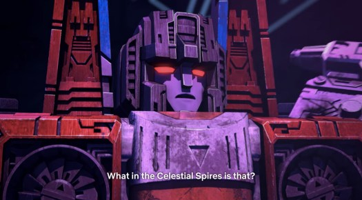 """Starscream saying """"What is the Celestial Spires is that?"""" in Transformers Earthrise"""