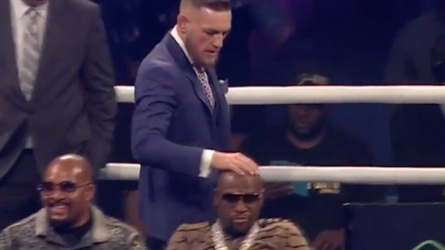 Image result for picture of conor mcgregor rubbing maywather head