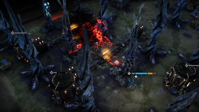 During a tactical fight in Phoenix Point a flame thrower goes out.