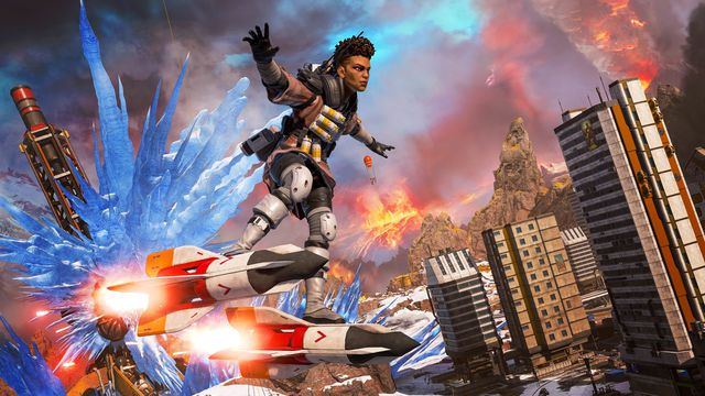 Bangalore rides on a pair of rockets in a screenshot from Apex Legends