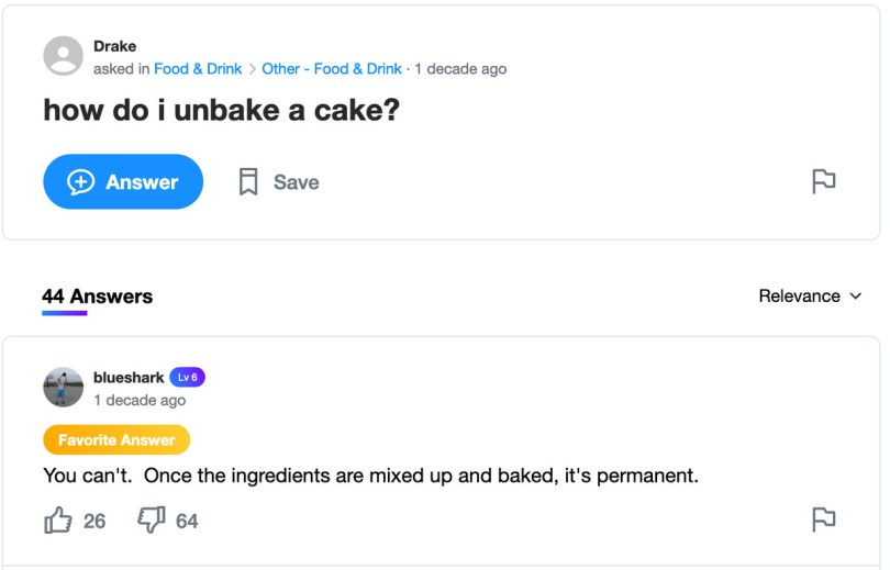 "Screenshot of Yahoo! Answers inquiry ""How do I unbake a cake?"""