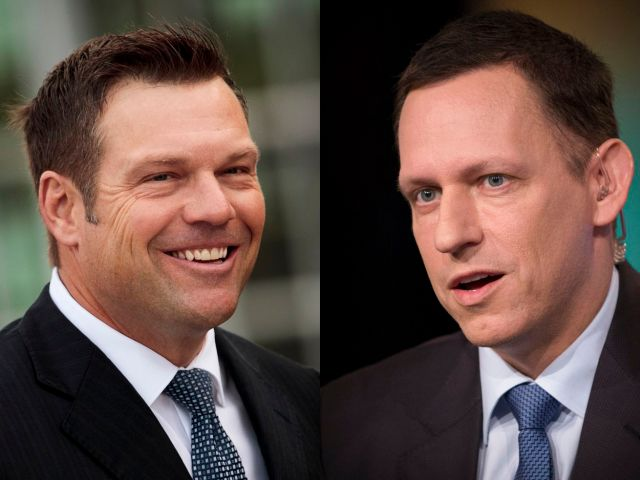 Kris Kobach on the left and Peter Thiel on the right.
