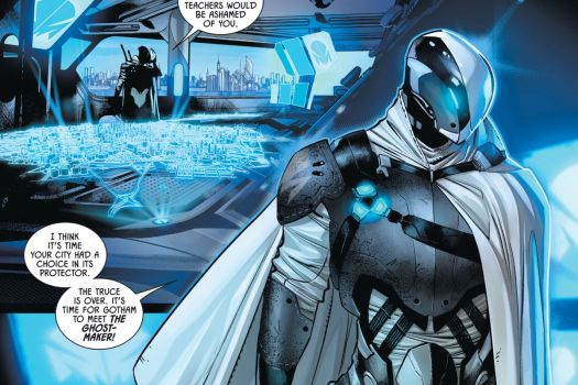 """""""The truce is over,"""" says Ghost-Maker, clad in his grey armor, white robes robes, and shiny helmet, """"It's time for Gotham to meet the Ghost-Maker!"""" in Batman #100, DC Comics (2020)."""