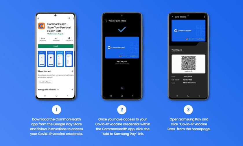 Samsung Pay allows users to store their vaccination credentials