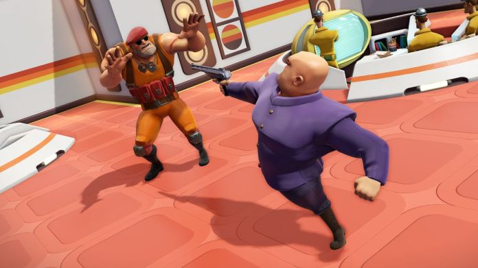 Max in Evil Genius 2 points a gun at a minion