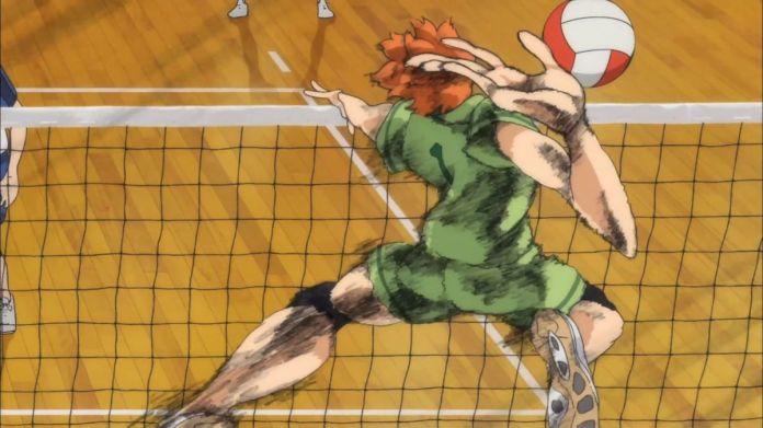 Shoyo Hinata, the main character of Haikyu!! jumps into the air to spike a volleyball