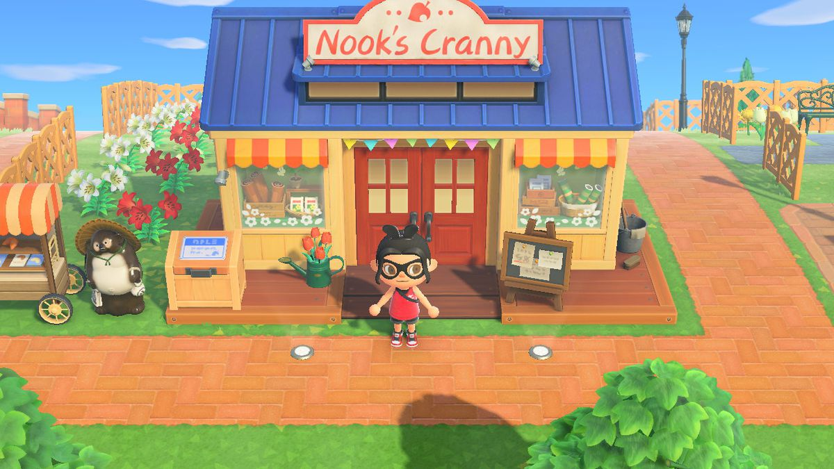 An Animal Crossing character stands in front of Nook's Cranny