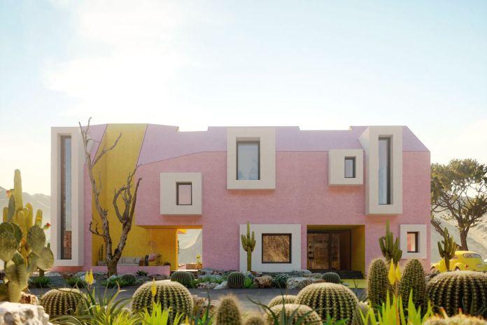 Рендеринг розово-желтого дома с белой отделкой.