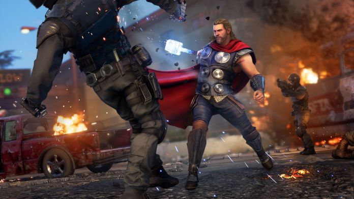 Thor wields his mighty hammer against a soldier in Marvel's Avengers