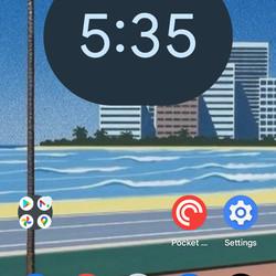 <em>The pill-shaped digital clock option.</em>