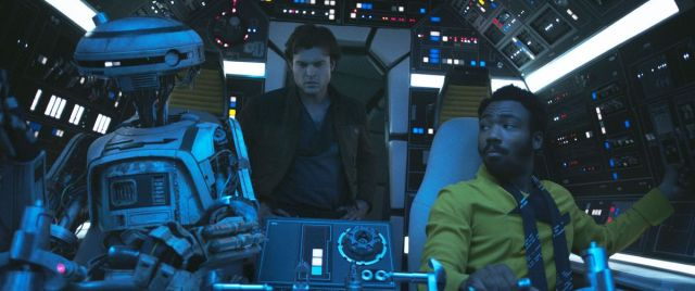 L3 (voiced by Phoebe Waller-Bridge), Alden Ehrenreich, and Donald Glover in Solo: A Star Wars Story