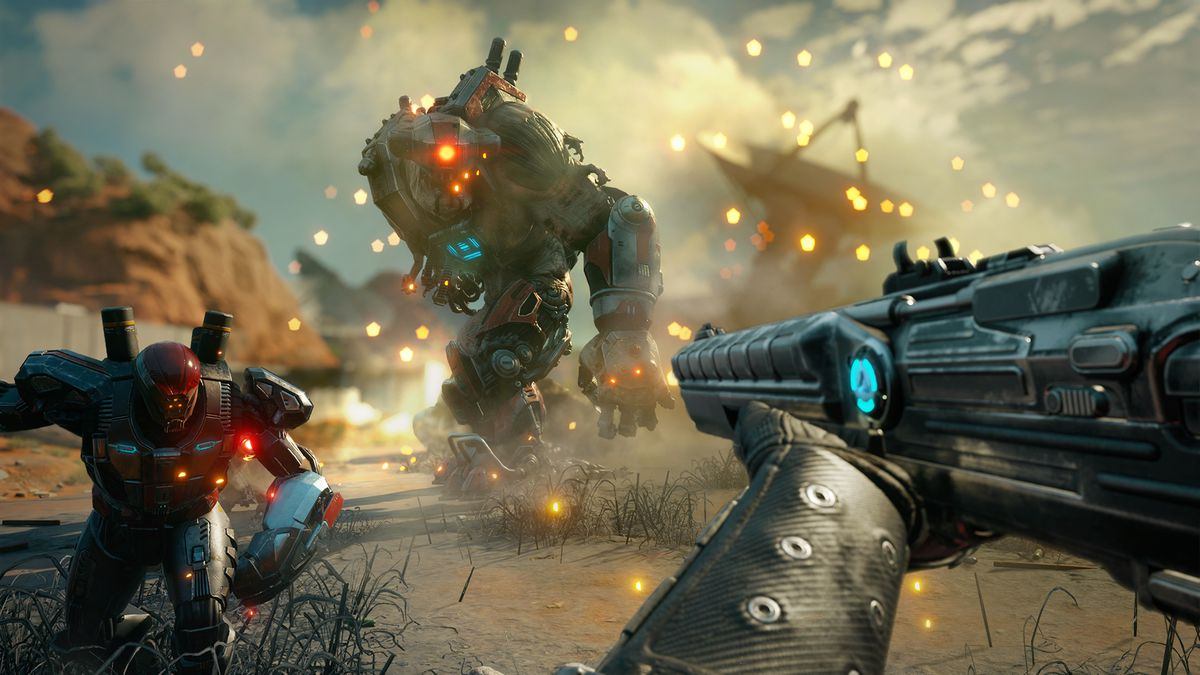 A giant Crusher and armored soldier bear down on the player in a screenshot from Rage 2.
