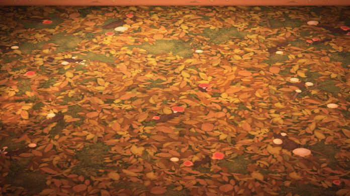A flooring that is covered in brown leaves and mushrooms