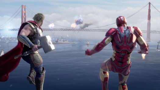 Thor and Iron Man watch an explosion from the sky