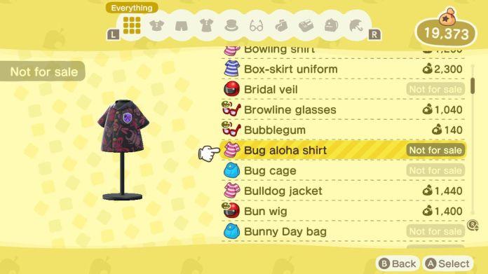An Animal Crossing: New Horizons shop menu for a Bug Aloha Shirt