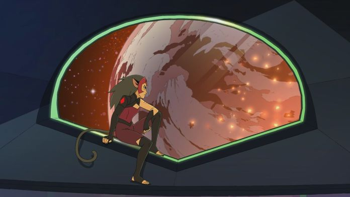catra starring out onto the vast expanse of space