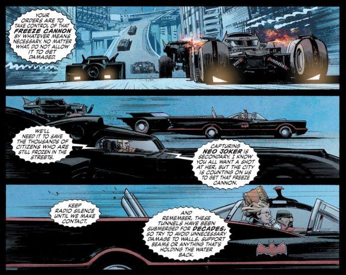 Batman and allies (including Harley Quinn) tear through Gotham's streets in a fleet of Batmobiles, including the Burton, Nolan, and Batman 1966 versions of the vehicle, in Batman: White Knight, DC Comics (2018).