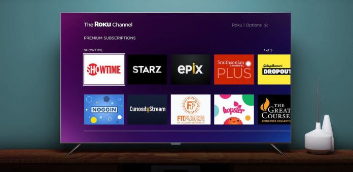 A TV displaying the Roku Channel