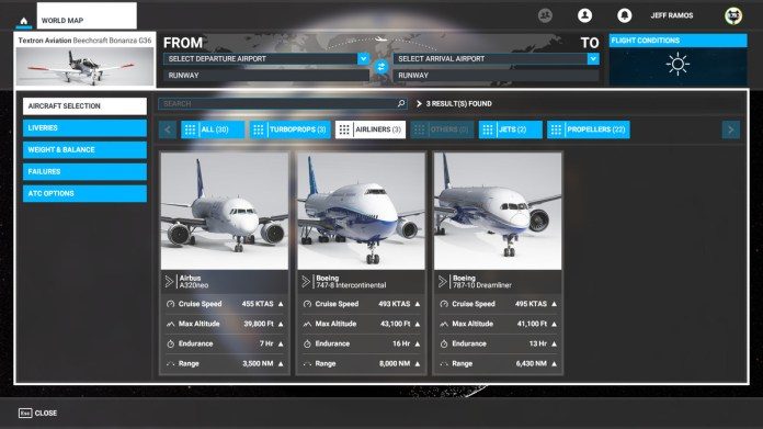 Airliners and jets in Microsoft Flight Simulator