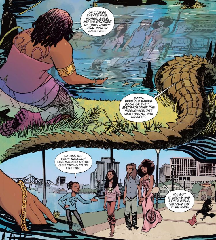 Erzulie, the crocodilian Uncle Monday and the four human leads of House of Whispers in The Sandman Universe #1, DC Vertigo (2018).