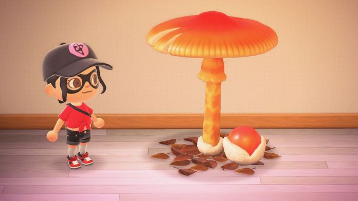 An Animal Crossing character stands next to a giant mushroom