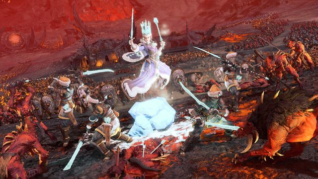 The Tzarina wades into battle against the forces of Khorne in Total War: Warhammer 3