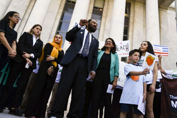 Rep. Al Green (D-TX) and Rep. Rashida Tlaib (D-MI) call for President Trumps impeachment.
